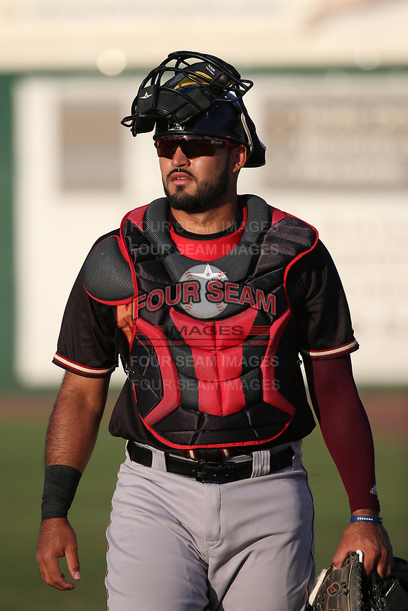 Arturo Nieto (23) of the Modesto Nuts walks from the bullpen to the dugout before a game against the Inland Empire 66ers at San Manuel Stadium on June 2, 2017 in San Bernardino, California. Inland Empire defeated Modesto, 7-2. (Larry Goren/Four Seam Images)
