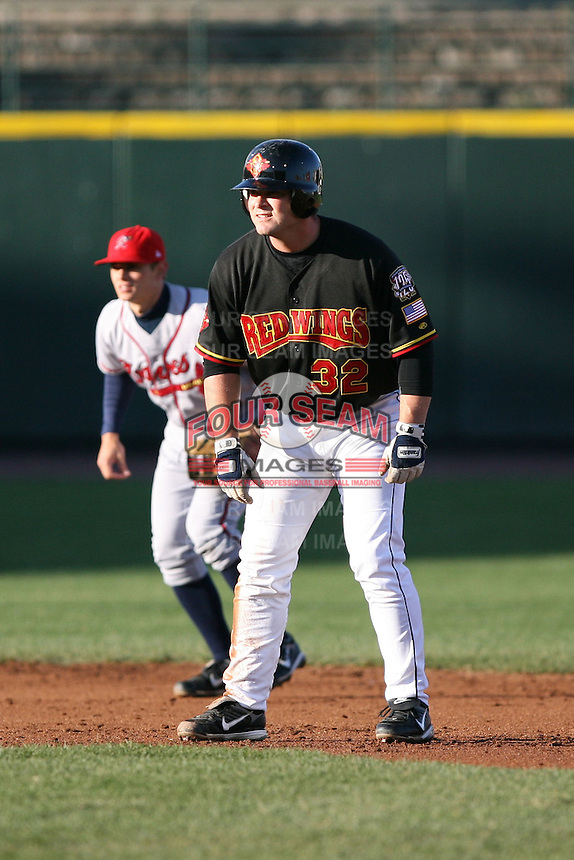 April 15th 2008:  Brian Buscher of the Rochester Red Wings, Class-AAA affiliate of the Minnesota Twins, leads off second base during a game at Frontier Field in Rochester, NY.  Photo by:  Mike Janes/Four Seam Images