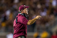 TALLAHASSEE, FLA. 9/5/15-Florida State University Head Coach Jimbo Fisher directs his team during first half action in the football game against Texas State University at Doak Campbell Stadium in Tallahassee.<br /> <br /> COLIN HACKLEY PHOTO