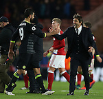 Diego Costa of Chelsea celebrates with Antonio Conte manager of Chelsea during the English Premier League match at the Riverside Stadium, Middlesbrough. Picture date: November 20th, 2016. Pic Simon Bellis/Sportimage