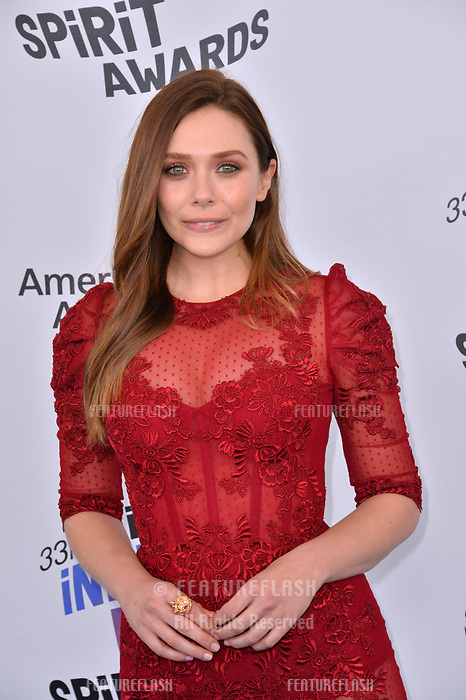 Elizabeth Olsen at the 2018 Film Independent Spirit Awards on the beach in Santa Monica, USA 03 March 2018<br /> Picture: Paul Smith/Featureflash/SilverHub 0208 004 5359 sales@silverhubmedia.com