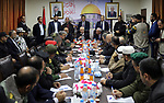 Palestinian Prime Minister, Rami hamdallah, chairs the Security meeting at the Ministry of the Interior in Gaza city on December 07, 2017. Photo by Prime Minister Office