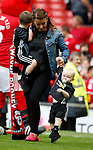 Coleen Rooney wife of Wayne Rooney with children Clay and Kit during the English Premier League match at the Old Trafford Stadium, Manchester. Picture date: May 21st 2017. Pic credit should read: Simon Bellis/Sportimage