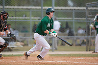 Babson Beavers left fielder Nicholas Browne (23) during a game against the Edgewood Eagles on March 18, 2019 at Lee County Player Development Complex in Fort Myers, Florida.  Babson defeated Edgewood 23-7.  (Mike Janes/Four Seam Images)