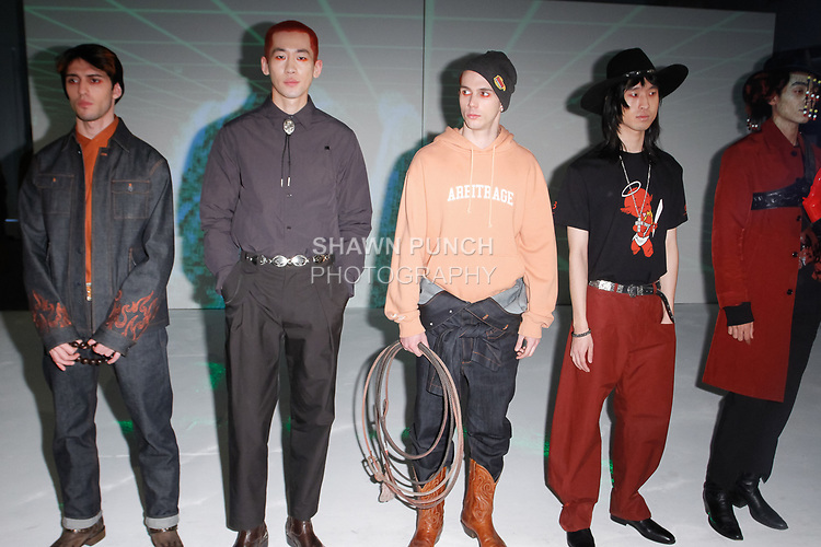 Models pose in outfits from the Sundae School Fall Winter 2019 collection by Dae Lim and Mia Park, on February 4, 2019; at 55 Water Street for New York Men's Day Fall Winter 2019, during New York Fashion Week: Men's Fall Winter 2019.