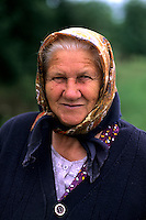 Croatia beautiful coast portrait of older woman with scarf near Dubrovnik Croatia