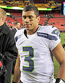 Seattle Seahawks quarterback Russell Wilson (3) leaves the field following his team's 24 - 14 victory over the Washington Redskins in an NFC Wild-card play-off game at FedEx Field in Landover, Maryland on Sunday, January 6, 2013.  .Credit: Ron Sachs / CNP