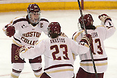Meagan Mangene (BC - 24), Andie Anastos (BC - 23), Haley McLean (BC - 13) - The Boston College Eagles defeated the Northeastern University Huskies 3-0 on Tuesday, February 11, 2014, to win the 2014 Beanpot championship at Kelley Rink in Conte Forum in Chestnut Hill, Massachusetts.