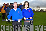 Capts of Ardfert Golf Club katie Carroll (Lady Capt) and John Slattery (capt) at their drive on Sunday morning at Ardfert Golf Club