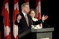 D&K :  Shawinigan, November 28, 2000<br /> It was past midnight when Liberal Party Leader  Jean Chretien who was  reelected as Canadian Prime Minster gave his victory speech in  his home town of Shawinigan (Quebec, CANADA). He is .seen here shaking hand with supporters while leaving the room<br /> Photo : Pierre Roussel - Images Distribution