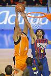 Baloncesto Fuelabrada's Gustavo Ayon (l) and FC Barcelona Regal's Victor Sada during Liga Endesa ACB match.October 30,2011. (ALTERPHOTOS/Acero)