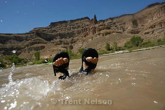 Kayaking at butler wash. trent feet