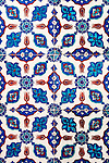 Iznik 15 - Stylized flower motifs on Iznik tiles in Rustem Pasa Mosque, Eminonu, Istanbul, Turkey