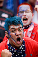 A USA fan cheers before the start of the game at Lincoln Financial Field in Philadelphia, PA.  The USMNT defeated Turkey, 2-1.