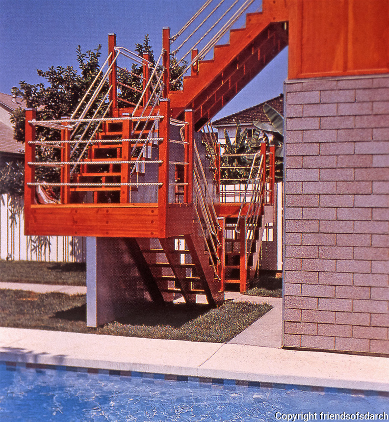 Eric Owen Moss: Stairway of Petal House, 1982. Rancho Park, 2828 Midvale Ave., Los Angeles.Photo April 2000.