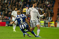 Real Madrid´s Isco and Deportivo de la Coruna's Manuel Pablo during 2014-15 La Liga match between Real Madrid and Deportivo de la Coruna at Santiago Bernabeu stadium in Madrid, Spain. February 14, 2015. (ALTERPHOTOS/Luis Fernandez) /NORTEphoto.com