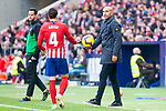 Atletico de Madrid Santiago Arias and Deportivo Alaves coach Abelardo Fernandez during La Liga match between Atletico de Madrid and Deportivo Alaves at Wanda Metropolitano in Madrid, Spain. December 08, 2018. (ALTERPHOTOS/Borja B.Hojas)
