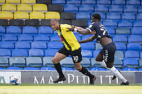 Richard Taylor, Southend United, gets to grips with Aaron Martin, Harrogate Town,  during Southend United vs Harrogate Town, Sky Bet EFL League 2 Football at Roots Hall on 12th September 2020
