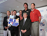 Minoru Sakayachi, Randy Johnson, Luis Gonzalez, AUGUST 18, 2015 - Baseball : L-R president and CEO, Diamondbacks Derrick Hall, Vice president of Asia Pacific MLB, Jim Small, Chief Baseball Officer Diamondbacks,Tony La Russa, vice president AIG Japan, Matthew Walker, Randy Johnson, CEO of the Arizona Diamondbacks, , Chairman, Japan Little League Baseball Association, Minoru Sakayachi  CEO Diamondbacks Luis Gonzalez attend AIG Presents 'MLB CUP 2016' press conference at Tokyo Japan on 18 Aug 2015. The Little League Baseball tournament for Japanese 4th and 5th grade elementary school children is part sponsored by the MLB and the winning team will be invited to watch an MLB game.  (Photo by Motoo Naka/AFLO)