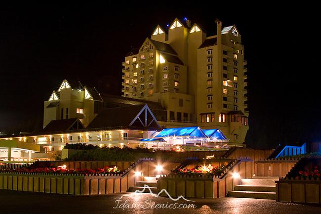 The Coeur D Alene Resort on Lake Coeur D Alene at night. Coeur D Alene, Idaho, USA