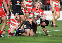 Issac Luke try as James Graham looks on.<br /> NRL Premiership rugby league. Vodafone Warriors v St George Illawarra. Mt Smart Stadium, Auckland, New Zealand. Friday 20 April 2018. &copy; Copyright photo: Andrew Cornaga / www.Photosport.nz