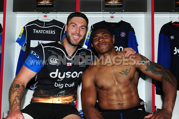 Matt Banahan and Semesa Rokoduguni of Bath Rugby pose for a photo after the match. The Clash, Aviva Premiership match, between Bath Rugby and Leicester Tigers on April 8, 2017 at Twickenham Stadium in London, England. Photo by: Patrick Khachfe / Onside Images
