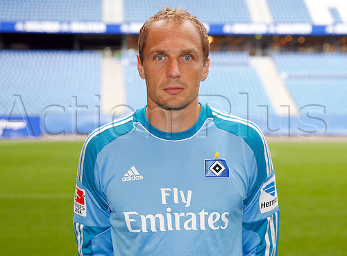 30.07.2013. Hamburg, Germany.  German Bundesliga soccer club Hamburger SV's Jaroslav Drobny poses during the official photo shoot for the season 2013-14 at Hamburg's Imtech Arena stadium.