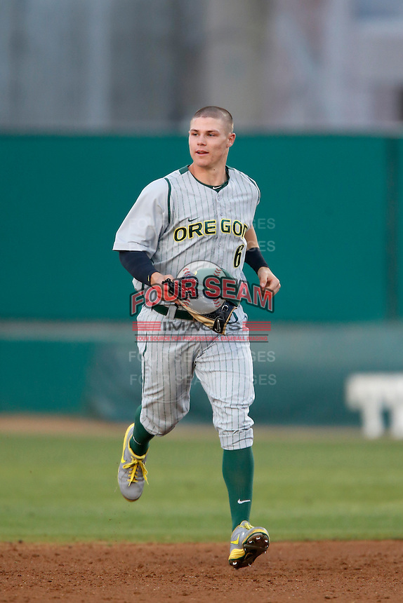 Scott Heineman #6 of the Oregon Ducks during a game against the USC Trojans at Dedeaux Field on March 15, 2013 in Los Angeles, California. (Larry Goren/Four Seam Images)