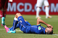 Giorgio Chiellini of Italy goes down with an injury