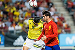 Stefan Medina of Colombia competes for the ball with Alvaro Morata of Spain during the friendly match between Spain and Colombia at Nueva Condomina Stadium in Murcia, jun 07, 2017. Spain. (ALTERPHOTOS/Rodrigo Jimenez)