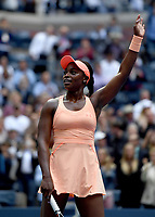 FLUSHING NY- SEPTEMBER 09: ***NO NY DAILIES*** Sloane Stephens reacts after getting match point to defeat Madison Keys. Stephens defeats Keys in straight sets 6-3, 6-0 during the Womens finals on Arthur Ashe Stadium at the US Open in the USTA Billie Jean King National Tennis Center on September 9, 2017 in Flushing Queens. <br /> CAP/MPI04<br /> &copy;MPI04/Capital Pictures