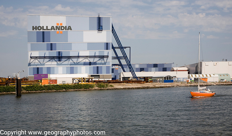 Waterside sign Hollandia steelworks, Krimpen aan de Ijssel, Rotterdam, Netherlands