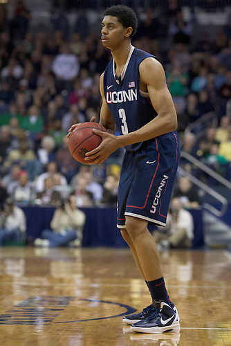 Connecticut guard Jeremy Lamb (#3) looks to pass the ball in second half action of NCAA Men's basketball game between Connecticut and Notre Dame.  The Connecticut Huskies defeated the Notre Dame Fighting Irish 67-53 in game at Purcell Pavilion at the Joyce Center in South Bend, Indiana.