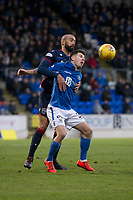 29th December 2019; McDairmid Park, Perth, Perth and Kinross, Scotland; Scottish Premiership Football, St Johnstone versus Ross County; Liam Fontaine of Ross County challenges for the ball with Matthew Kennedy of St Johnstone  - Editorial Use