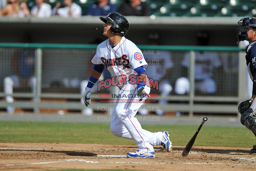 Tennessee Smokies shortstop Javier Baez #9 swings at a pitch during game one of a double header against the Huntsville Stars at Smokies Park on July 8, 2013 in Kodak, Tennessee. The Stars won the game 2-0. (Tony Farlow/Four Seam Images)