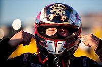 Nov 3, 2019; Las Vegas, NV, USA; NHRA top alcohol funny car driver Sean Bellemeur after winning the Dodge Nationals at The Strip at Las Vegas Motor Speedway. Mandatory Credit: Mark J. Rebilas-USA TODAY Sports