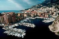 Aerial view of Port Fontvielle and marina, Monte Carlo, Monaco
