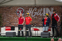 Former Wales player Mickey Thomas (far left) with competition winners on the Vauxhall stage of the Cardiff Fanzone ahead of the Euro 2016 quarter final between Wales and Belgium , Cardiff, Wales on 1 July 2016. Photo by Mark  Hawkins/PRiME Media Images.