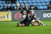 2nd December 2017, Rioch Arena, Coventry, England; Aviva Premiership rugby, Wasps versus Leicester; Nizaam Carr of Wasps throws the ball in the air to celebrate him scoring