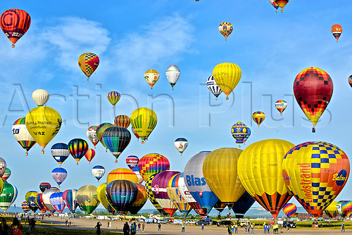 26.07.2015. Chambley Bussieres, France. Hot Air balloon presentation.  Balloons leave the ground as the wind picks up