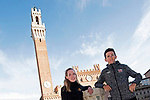 Last year's winners Tiesj Benoot (BEL) Lotto-Soudal and World Champion Anna Van der Breggen (NED) Boels Dolmans pose for pictures in Il Campo Siena finish line of the 2019 Strade Bianche running 184km from Siena to Siena, held over the white gravel roads of Tuscany, Italy. 8th March 2019.<br /> Picture: LaPresse/Fabio Ferrari | Cyclefile<br /> <br /> <br /> All photos usage must carry mandatory copyright credit (&copy; Cyclefile | LaPresse/Fabio Ferrari)