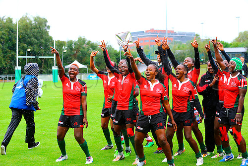 23.08.2015. Dublin, Ireland. Women's Sevens Series Qualifier 2015. Kenya versus Colombia<br /> The Kenyan team dance to celebrate their win.