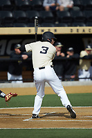 Bobby Seymour (3) of the Wake Forest Demon Deacons at bat against the Louisville Cardinals at David F. Couch Ballpark on March 18, 2018 in  Winston-Salem, North Carolina.  The Demon Deacons defeated the Cardinals 6-3.  (Brian Westerholt/Four Seam Images)
