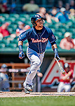 18 July 2018: New Hampshire Fisher Cats outfielder Harold Ramirez in action against the Trenton Thunder at Northeast Delta Dental Stadium in Manchester, NH. The Thunder defeated the Fisher Cats 3-2 concluding a previous game started April 29. Mandatory Credit: Ed Wolfstein Photo *** RAW (NEF) Image File Available ***