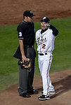 Reno Aces Manager Brett Butler is ejected for the first time this season for arguing balls and strikes in their game against the Orleans Zephyrs on Wednesday night at Aces Ballpark in Reno, NV.