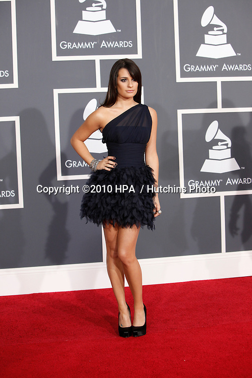 Lea Michele.arriving at the 2010 Grammy's.Staples Center.Los Angeles, CA.January 31, 2010.©2010 HPA / Hutchins Photo....
