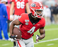 ATHENS, GA - OCTOBER 19: James Cook #4 of the Georgia Bulldogs during a game between University of Kentucky Wildcats and University of Georgia Bulldogs at Sanford Stadium on October 19, 2019 in Athens, Georgia.
