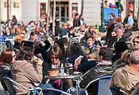 Outdoor cafe, Plaza Santa Ana, Madrid, Spain