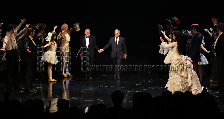 Hal Prince & Cameron Mackintosh with ensemble cast during the 'Phantom of the Opera' - 25 Years on Broadway Gala Performance Curtain Call Celebration at the Majestic Theatre in New York City on 1/26/2013