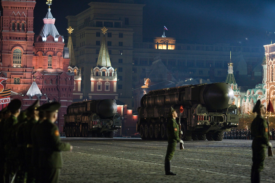 Moscow, Russia, 04/05/2010..Russian Topol-M intercontinental ballistic missiles at a night time rehearsal in Red Square for the forthcoming May 9 Victory Day parade, scheduled to be the largest for many years.